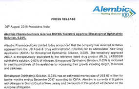 Press Release USFDA Tentative Approval Bimatoprost Ophthalmic Solution, 0.03%