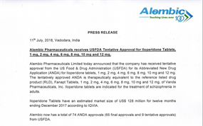 Press Release USFDA Tentative Approval Iloperidone Tablets